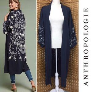 Anthropologie Navy Beaded Kimono Floreat OS